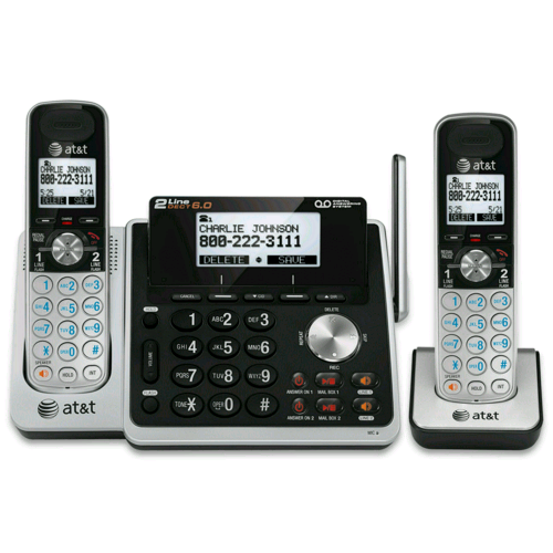 at t two 2 handset cordless phone bundles at t telephone store. Black Bedroom Furniture Sets. Home Design Ideas
