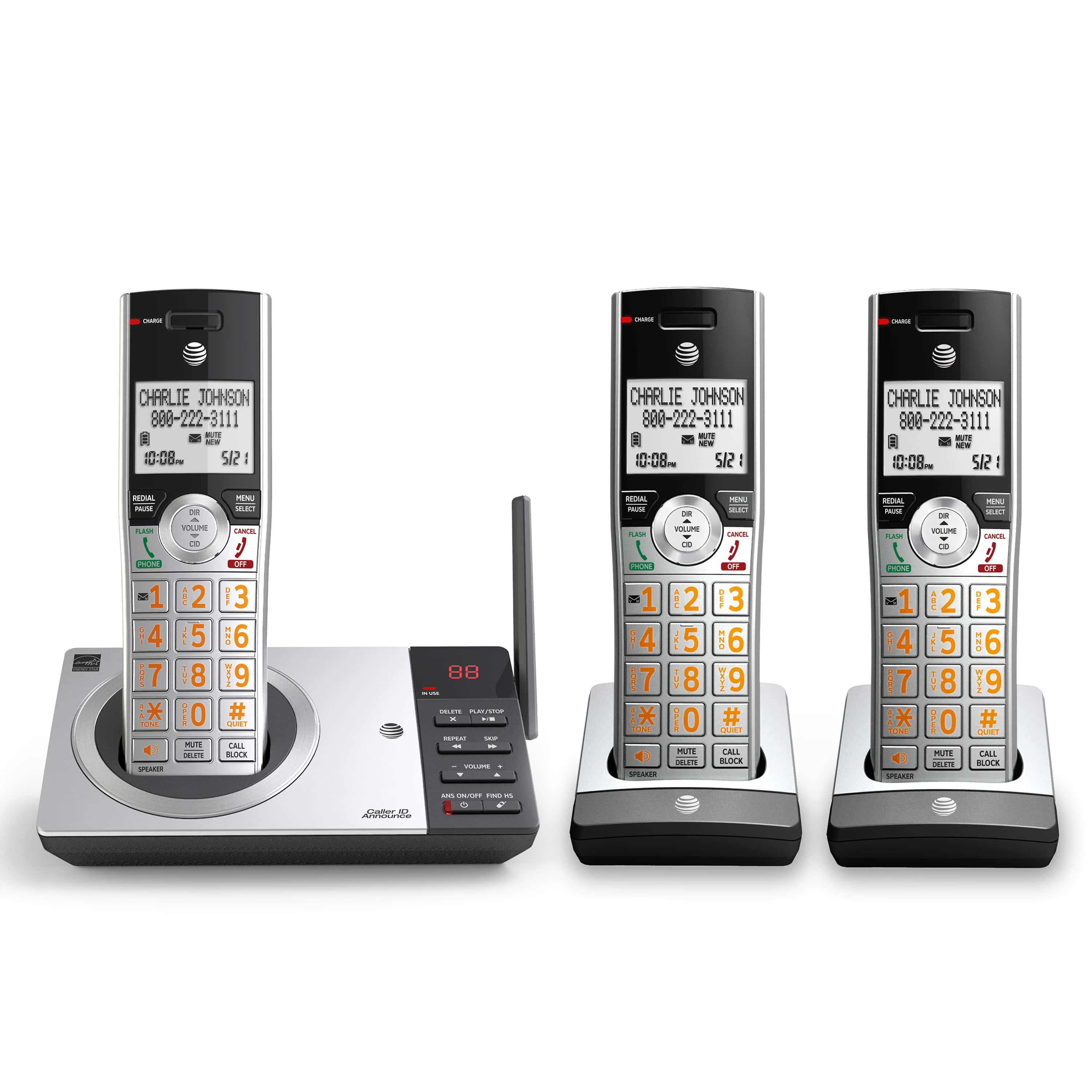 NEW AT/&T DECT 6.0 CL83415 4-Handset Cordless Phone with Answering System