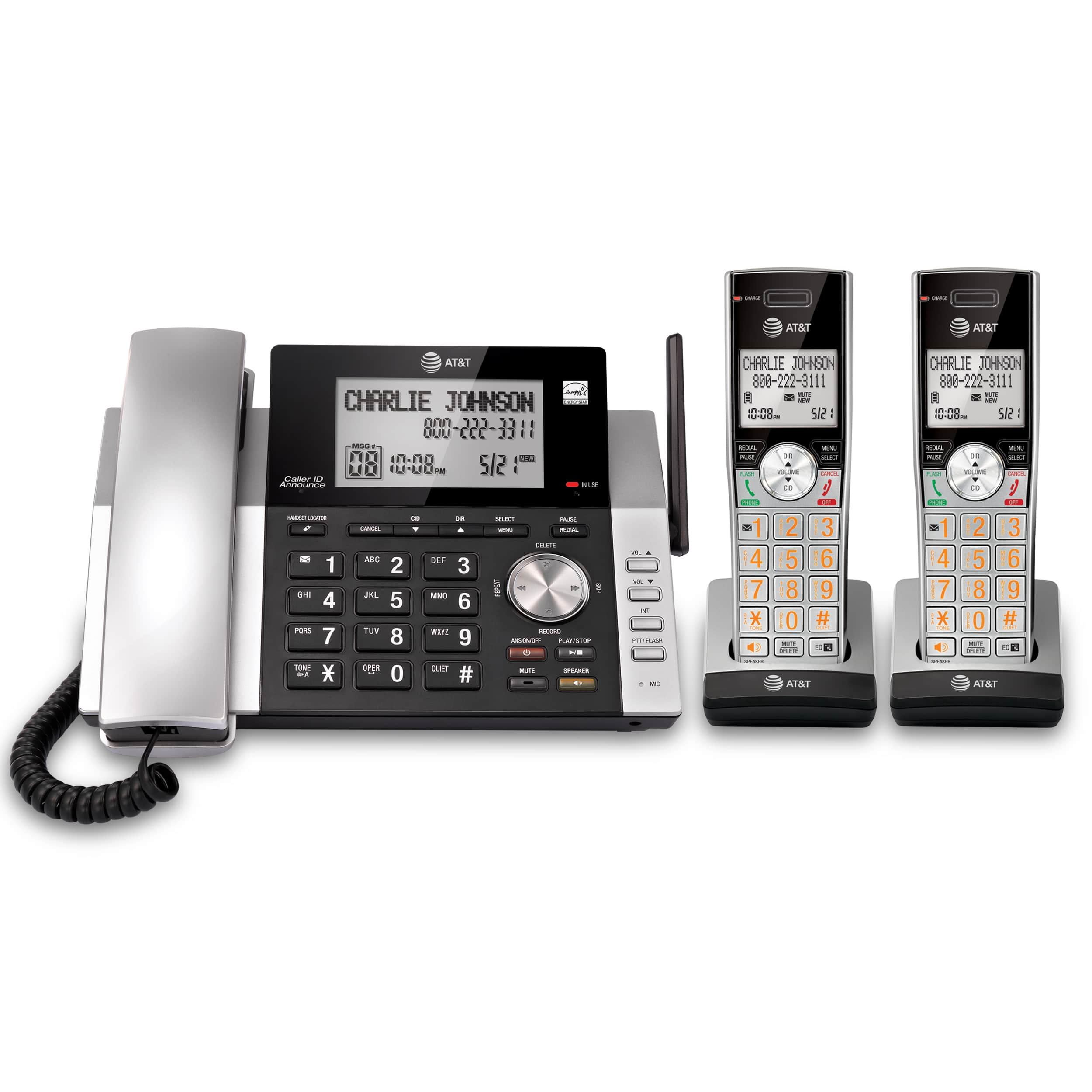 AT/&T DECT 2 Line Cordless Intercom Paging Conference Phone System w 7 Handsets