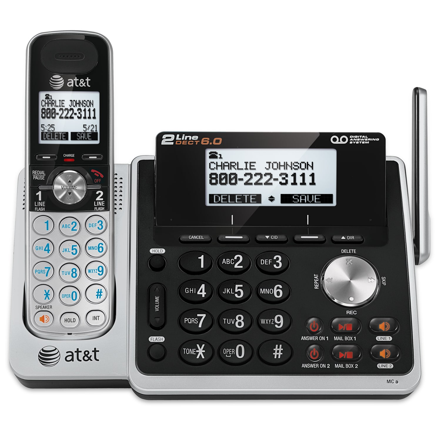 2 Line Answering System With Dual Caller Id Call Waiting