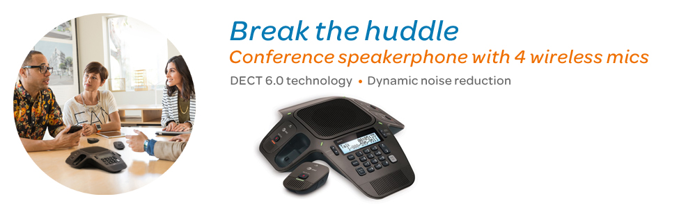 Break the huddle Conference speakerphone with 4 wireless mics