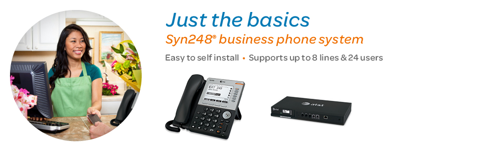 Syn248® business phone systems. Supports up to 8 lines and 24 users.