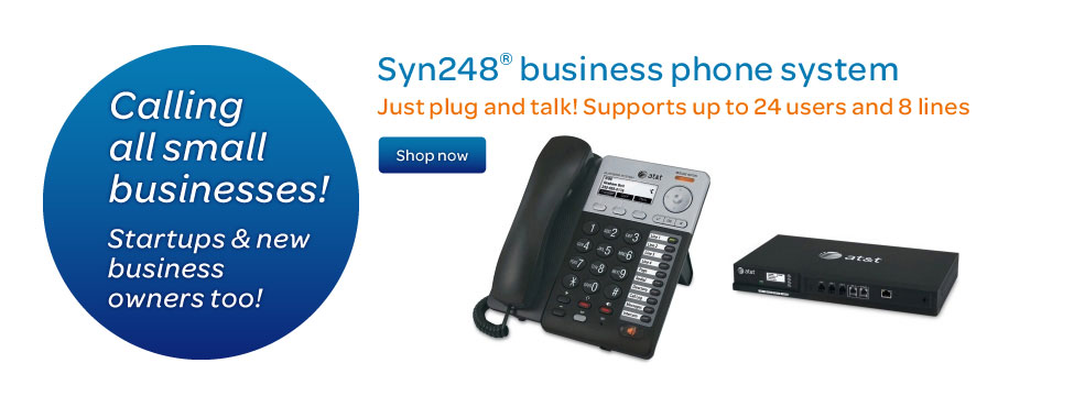 Syn248® business phone systems. Just plug and talk! Supports up to 24 users and 8 lines.