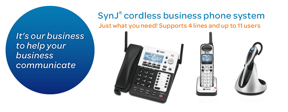 SynJ® Cordless business phone system. Just whtat you need! Supports 4 lines and up to 11 users